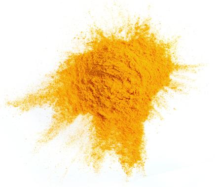 Turmeric  powder isolated on white background Stock Photo