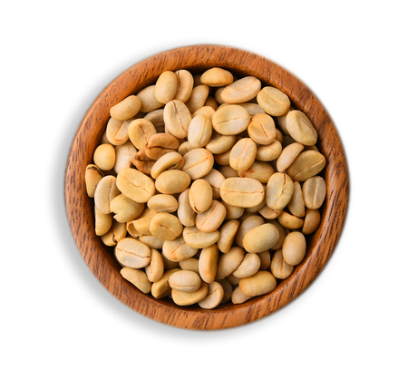 Raw coffee beans in wood bowl  on white background