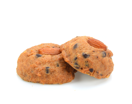 Chocolate Almond Cookies isolated on white background Stock Photo