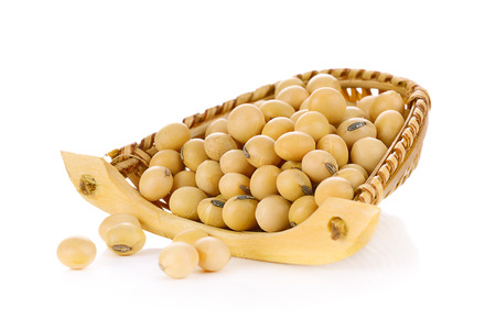 isolated on yellow: gold soybean isolated on white background