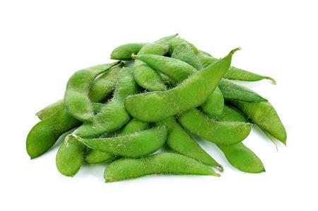 harvested: Fresh harvested soybean (edamame) plant isolated on white background