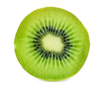 kiwi fruta: A Kiwifruit Slice Isolated on a White Background.