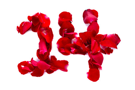 scattered in heart shaped: On February 14th of this month is the day of love, for love is written with rose petals. White background.