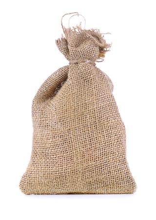 linen bag: linen bag on white background Stock Photo