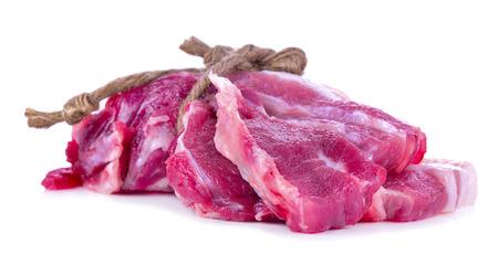 boneless: Slice of boneless pork neck isolated on white Stock Photo