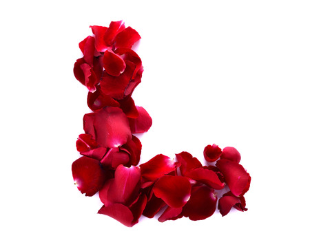 scattered in heart shaped: The letter L for love is written with rose petals. White background.