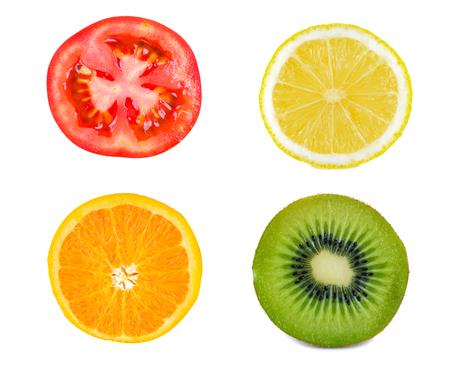 tomato slice: A Kiwifruit Slice and Lemon Slice and Orange slice and tomato Slice  isolated on white Stock Photo
