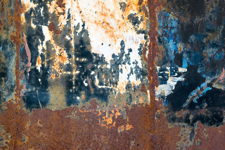 rust metal: Corroded white metal background. Rusted white painted metal wall. Rusty metal background with streaks of rust.