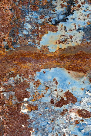 oxidize: Corroded white metal background. Rusted white painted metal wall. Stock Photo