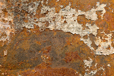 oxidize: Corroded  metal background. Rusted white painted metal wall. Rusty metal background with streaks of rust. Stock Photo