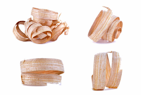 Set Wood shavings isolated on white background, with clipping path