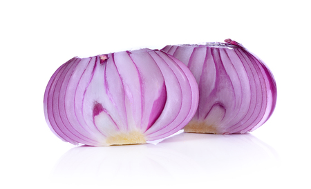 red onion, shallots on white background