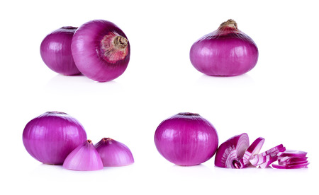 half  cut: whloe and half cut red onion, shallots on white background