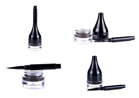 smeared mascara: Eyeliner isolated on white Stock Photo