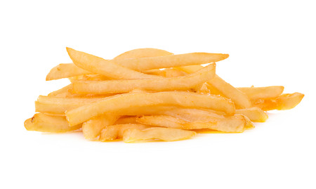 accompaniment: heap of french fries isolated on white background