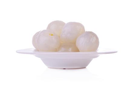 Fresh lychees isolated on white Stock Photo