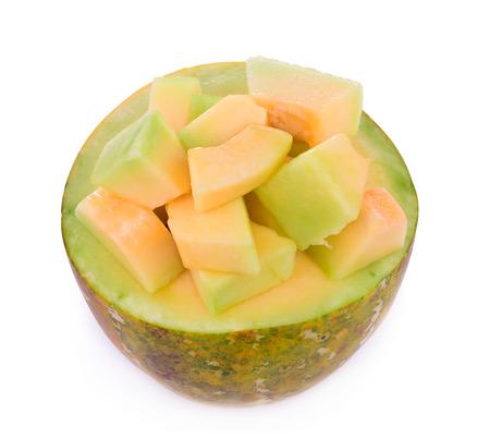 Melon slices Isolated on White Background. Stock Photo