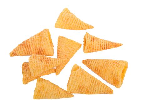 Crunchy corn snacks on a white background Stock Photo