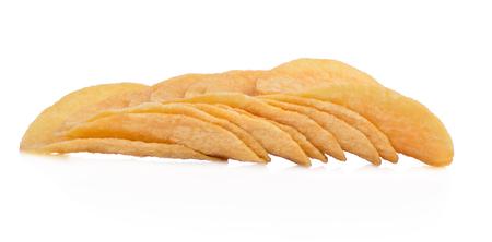crispy potato chips isolated on white background Stock Photo