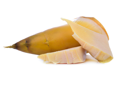 boiled bamboo shoots isolate on white background