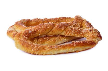 Sweet pretzels on white background