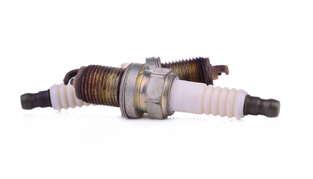 Spark plug for car on a white background
