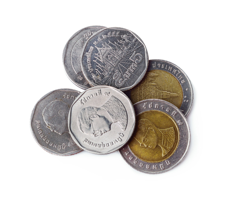 Coin thai bath on white background