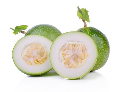Passion fruit raw isolated on white background. Stock Photo