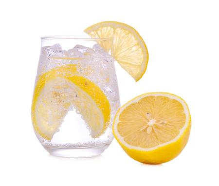 lemons and lemon juice isolated on white background.