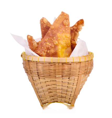 Deep fried dumplings on white background Stock Photo