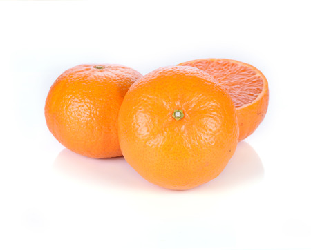 Oranges isolated cut set on wooden base Stock Photo