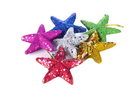 Christmas is a colorful stars on a white background Zdjęcie Seryjne
