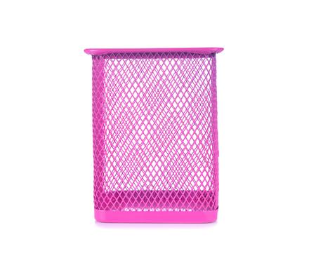 metal mesh: metal pen pot on white background