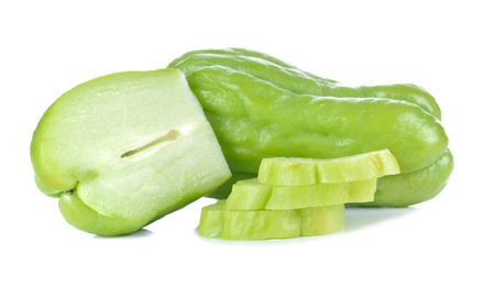 low perspective: Chayote on white background