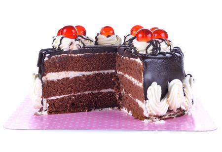 Chocolate cake isolated on white background