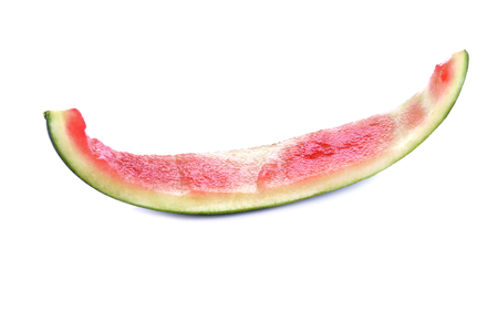 Watermelon slice eaten, isolated over white background Stock Photo