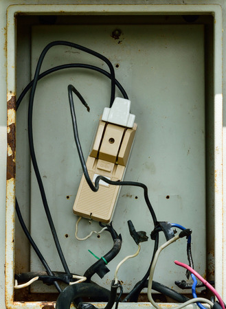 breakers electrical panel, switch with wires in box