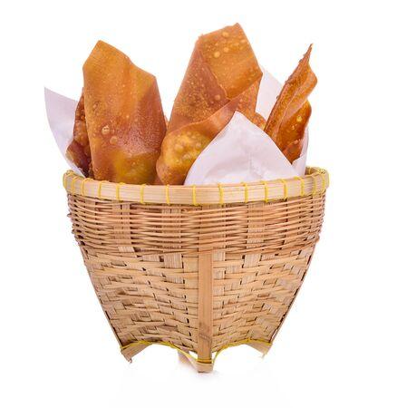 Deep fried dumplings on white background Zdjęcie Seryjne