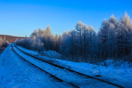 irradiation: snow on train road