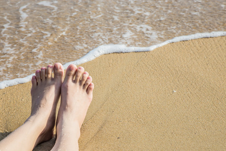 foots: foots on beach Stock Photo