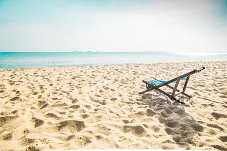 white sand beach: Beach chair on the white sand beach