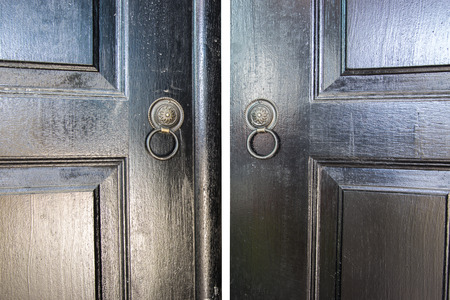 door knobs: Two Door Knobs of  Rings Made of Black Iron