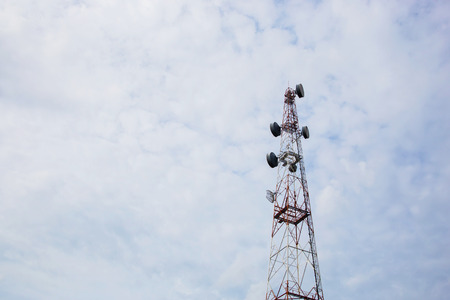 telecoms: Telecommunication Radio Antenna and Satelite Tower with a sunlight Stock Photo