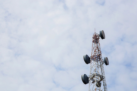 satelite: Telecommunication Radio Antenna and Satelite Tower with a sunlight Stock Photo