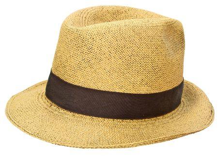 Ancient straw hat, black background, similar to a Panama jipijapa hat Stock Photo