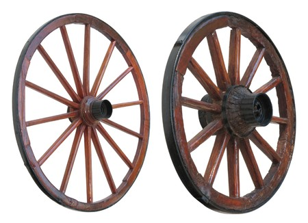 carts: Antique Cart Wheel made of wood and iron-lined, isolated