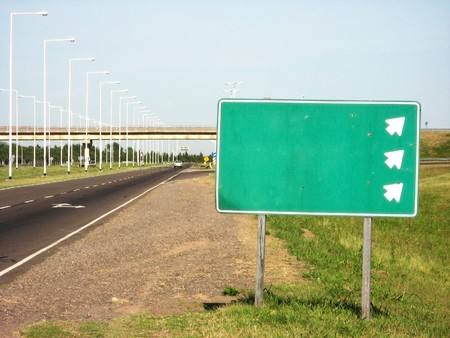 the carriageway: An exit of a carriageway and its road sign
