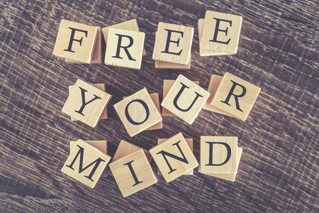 free your mind: Free Your Mind message. Cross processed image for vintage look