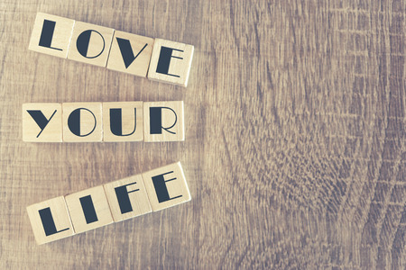 Love Your Life message. Cross processed image for vintage look Stock Photo - 48657745