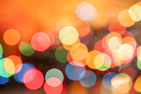 red and gold: Defocused bokeh Christmas lights background Stock Photo